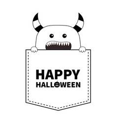 happy halloween black line contour monster vector image