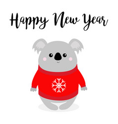 happy new year koala in red ugly sweater vector image