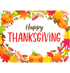 happy thanksgiving typography poster with berries vector image