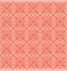 Heart white line valentine day design pattern on vector