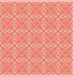 heart white line valentine day design pattern vector image