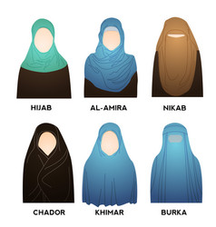 hijab type models collection styles muslim woman vector image