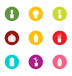 home cactus icons set flat style vector image