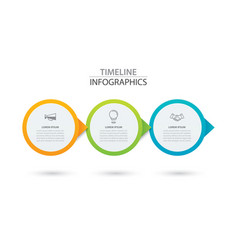 infographics timeline circle paper with 3 data vector image