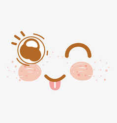 Kawaii funny face with tougue outside vector