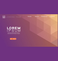 landing page template with gradient geometric vector image