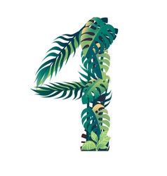 leaf number 4 with different types green vector image