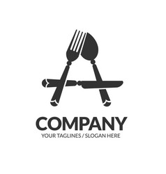 letter a fork spoon and knife logo vector image