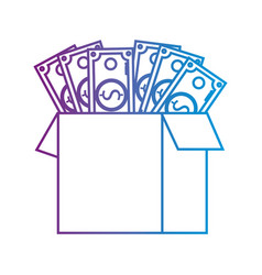 Line box open with bills dollar vector