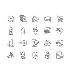 Line loan icons vector