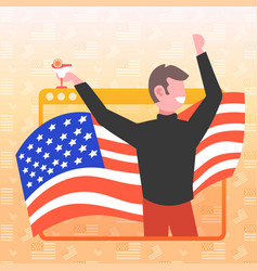 man drinking cocktail 4th july american vector image