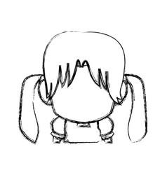 Manga anime girl chibi character contour vector