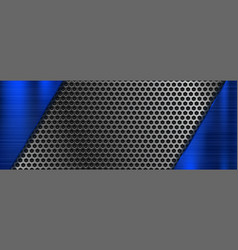 metal perforated 3d texture with blue elements vector image
