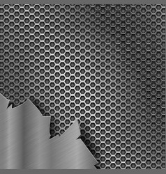 Metal perforated texture with torn iron element vector