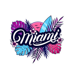 Miami beach hand written lettering vector