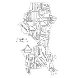 Modern city map - seattle washington city of the vector