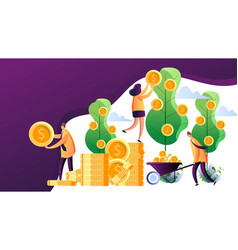 Money tree successful business persons harvesting vector