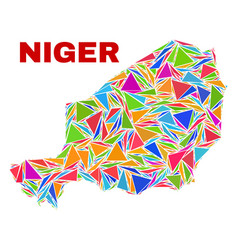 Niger map - mosaic color triangles vector