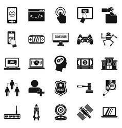 protocol icons set simple style vector image