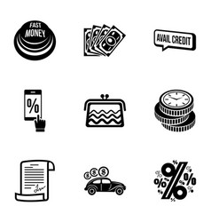 quick transaction icons set simple style vector image