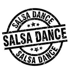 Salsa dance round grunge black stamp vector