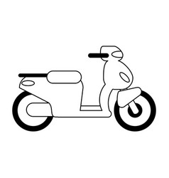 Scooter motorcyle vehicle black and white vector