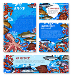 seafood shop and fish market design templates vector image