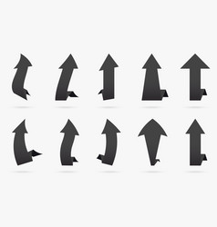 set black charcoal popular arrow sticker isolated vector image