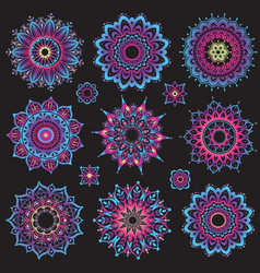 Set of mandalas round ornament pattern vector