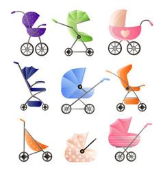 set of modern baby strollers for web design vector image