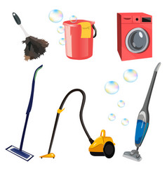 Set with cleaning tools vector