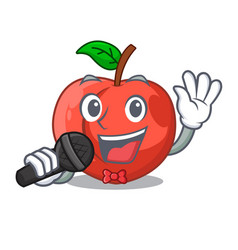 Singing cartoon fresh sweet nectarines in the vector