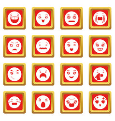 smiles icons set red square vector image
