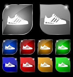 Sneakers icon sign Set of ten colorful buttons vector image