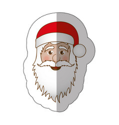 sticker face cartoon santa claus portrait icon vector image vector image