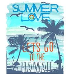 summer Sunset at tropical beach hawaii vector image