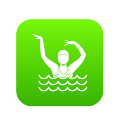 swimmer in a swimming pool icon digital green vector image