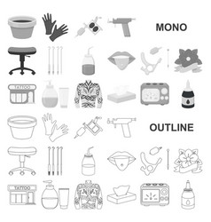 tattoo drawing on the body monochrom icons in set vector image