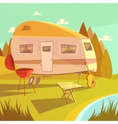 Trailer and camping vector