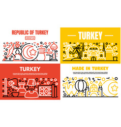 Turkey country banner set outline style vector