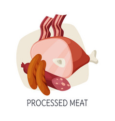 Unhealthy food for brain processed meat products vector