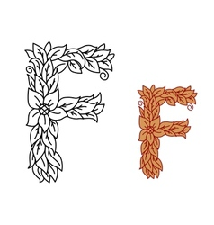 Uppercase letter F in a floral design with leaves vector