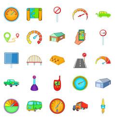 Vehicle icons set cartoon style vector