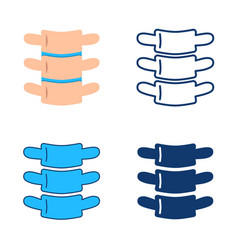 vertebra icon set in flat and line style vector image