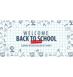 welcome back to school banner with different vector image