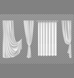 White curtains isolated on transparent background vector