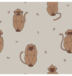 Wise monkeys seamless pattern hear see sayand vector image