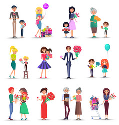 Women s day concept colourful collection on white vector