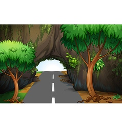 A road under the cave vector image