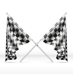 Black and white checkered crossed finish flags vector image vector image